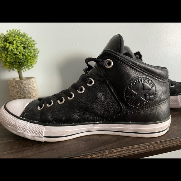 Converse black high top leather